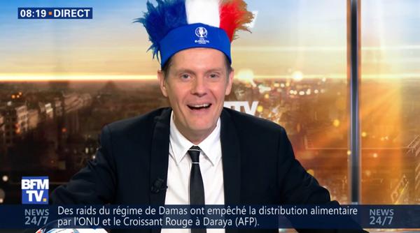 Guillaume Séchet Mr Méteo de BFMTV fête l'Euro