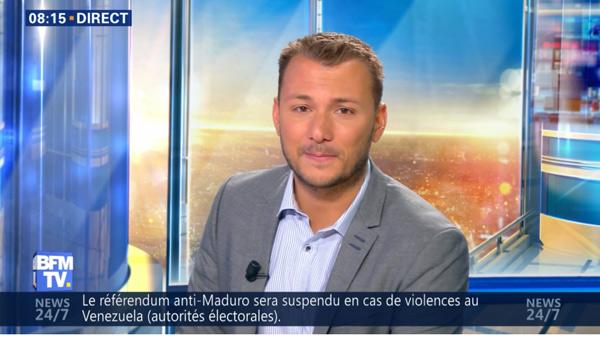 Nicolas Bensussan sur BFMTV après Infosport dans la matinale week end, il remplace Saber Desfarges