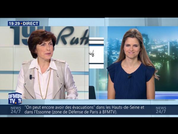 Margaux de Frouville aux JT  BFMTV de l'émission 19h Ruth Elkrief chaque soir