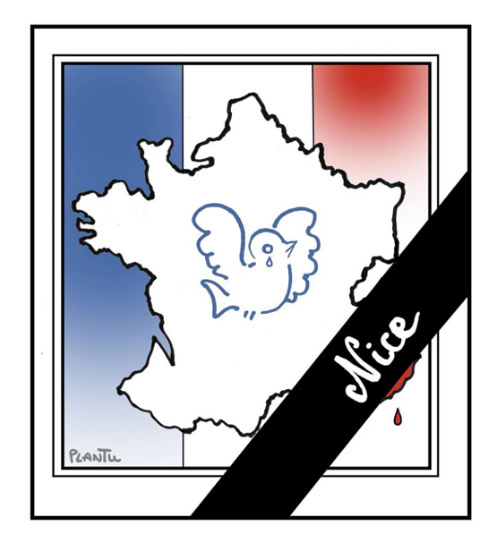 Plantu rend hommage aux victimes de l'attentat terroriste de Nice du 14 juillet 2016