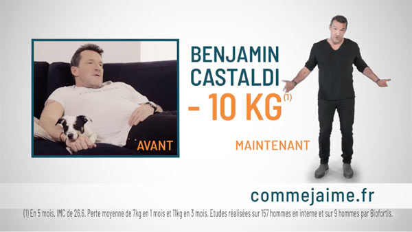 avis benjamin castaldi publicit comme j 39 aime hommes le r gime 10 kilos. Black Bedroom Furniture Sets. Home Design Ideas